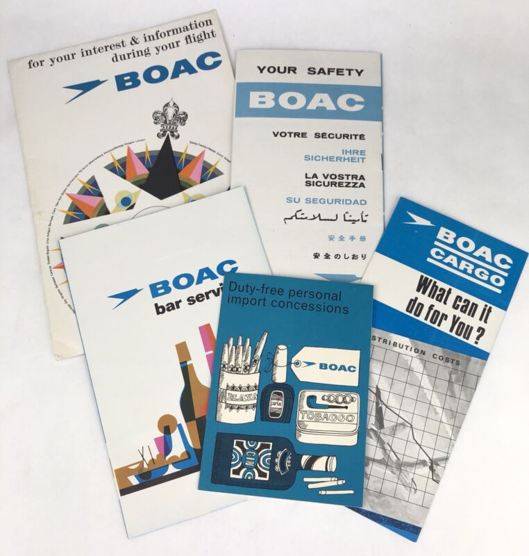 1966 BOAC BRITISH AIRWAYS VC10 Flight Folder w/ BAR MENU Cargo SAFETY CARD Lot