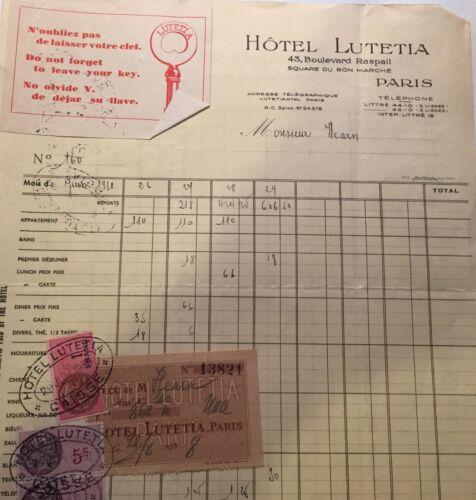 1938 trip to Paris, Belgium, Switzerland, UK, tickets, hotel Lutetia, photos