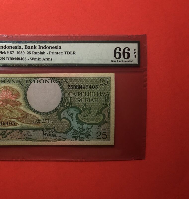 1959-INDONESIA 25 RUPIAH NOTE,GRADED BY PMG GEM UNC 66 EPQ.