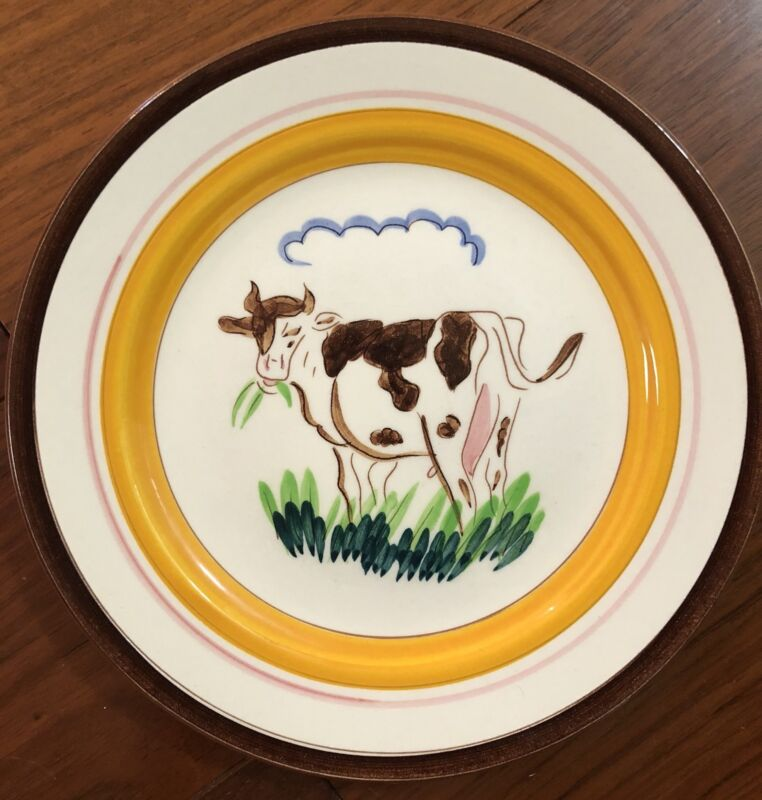 """EXTREMELY RARE Stangl ~COUNTRY LIFE~ 8"""" Salad PLATE ~COW~ 1950's Farm"""