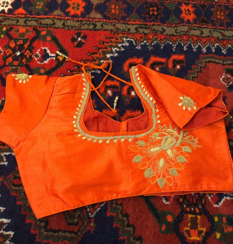 Red Embroidered Blouse Only Stitched- Size 36-40 Ready To Wear On SALE!!