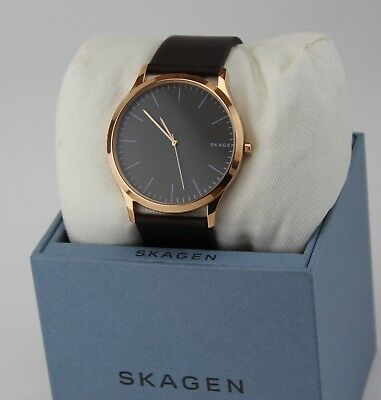 NEW AUTHENTIC SKAGEN JORN ROSE GOLD BROWN LEATHER GREY DIAL MEN'S SKW6330 WATCH