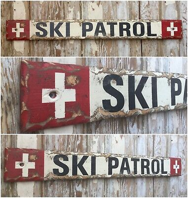 SKI LODGE STREET SIGN METAL 3X12 USA MADE RUSTIC SKI PATROL LIFT CHALET DECOR