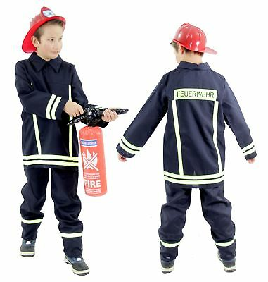 Feuerwehrmannkostüm Feuerwehr Kostüm Feuerwehrmann für Kinder Gr. 104 - - Feuerwehr Kostüm