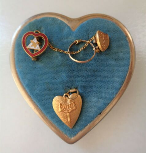10K Gold Ring on WOTM Women of the Moose Badge Big Heart Brooch w/Pins.