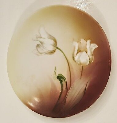 RS Germany Porcelain Dessert Plate Brown Floral Bone China White Tulip Flower