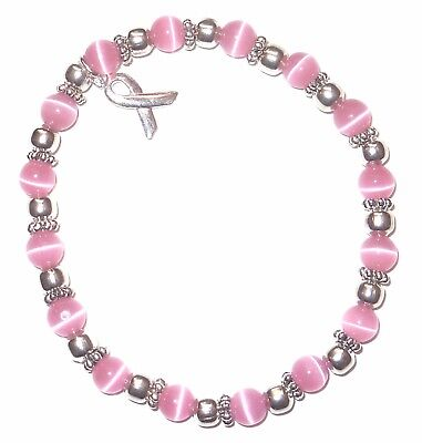 Stretch Breast Cancer Awareness Bracelet, 6mm Pink, Fits most adults, Packaged - Breast Cancer Awareness Bracelets
