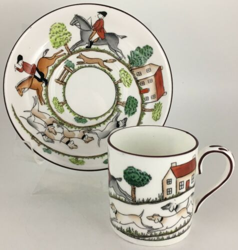 Crown Staffordshire Hunting Scene Demitasse cup & saucer
