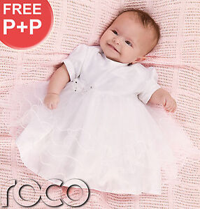 Baby-Girls-White-Dress-Christening-Toddlers-Butterfly-Dress-Age-0-9-Months