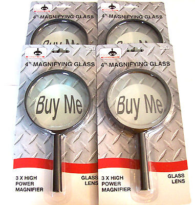 4 Goliath Industrial 4 Jumbo Magnifying Glasses Glass Lens Hand Held Magnifier