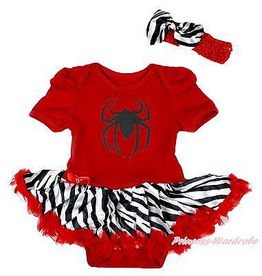 Halloween Black Spider Girl Red Bodysuit Zebra Pettskirt Baby Dress Set NB-12M - Spider Girl Bodysuit