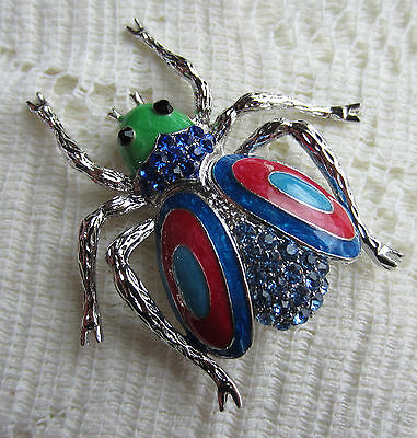Blue Crystal Pin Brooch -  BLUE AUSTRIAN CRYSTAL RHINESTONE BEETLE BUG BROOCH PIN