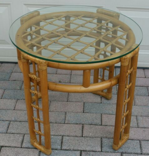 Vintage Boho Chic Natural Bamboo & Rattan Round Tempered Glass Top Coffee Table