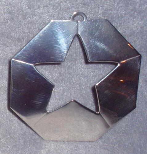 1972 Samuel Kirk Convex Octagon Star Solid Sterling Christmas Ornament Medallion