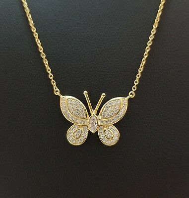 14k Yellow Gold Over Sterling Silver Butterfly Necklace  ()
