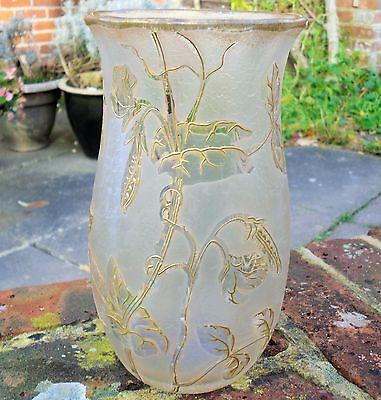 Large Legras St Denis Glass Vase Cameo And Gilt Decoration Art Nouveau