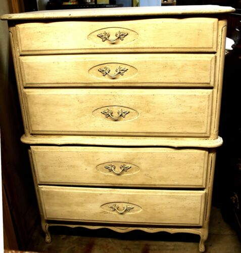 Vintage White Farmhouse French Country Style Chest On Chest Dresser