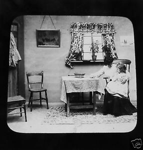 Glass-Magic-lantern-slide-THE-ANGEL-OF-THE-TENEMENT-NO-7-C1890-VICTORIAN-TALE