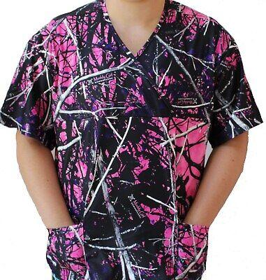Girls Scrubs - Muddy Girl Ladies Camo Nursing Scrub Top Camoflauge 2 pocket medical vet uniform
