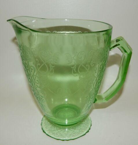 "Vintage Hazel Atlas Green Depression Glass Florentine 1 Poppy 6.5"" Pitcher"