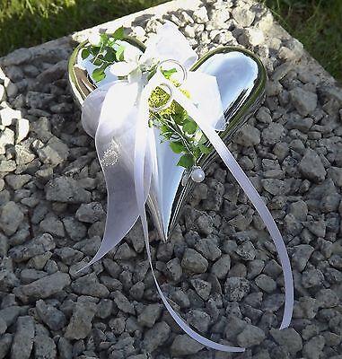Ringkissen Ringhalter Keramik Herz silberfarben Liebe Hochzeit für Eheringe