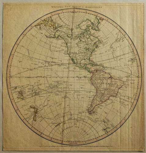 1790 Genuine Antique Western Hemisphere Map of N. & S. America. William Faden