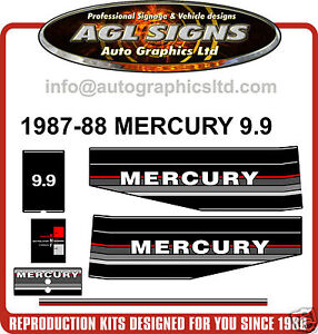 1987 1988 mercury 9 9 hp outboard motor decal set for 9 9 hp outboard motors