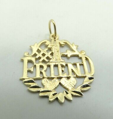 14K Yellow Gold #1 Friend Wreath Charm Pendant Diamond Cut 20mm 1 Gram D9537