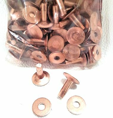 "#12 Med 1/2"" 75 Pack of COPPER RIVETS & BURRS 11280-01 Tandy Leather Rivet Burr"