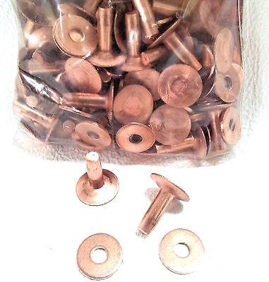 "#9 Large 1/2"" 50 Pack of COPPER RIVETS & BURRS 11280-00 Tandy Leather Rivet Burr"