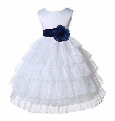 White Tired Organza Flower Girl Dress Pageant Wedding Reception Graduation Party](White Organza Flower Girl Dress)