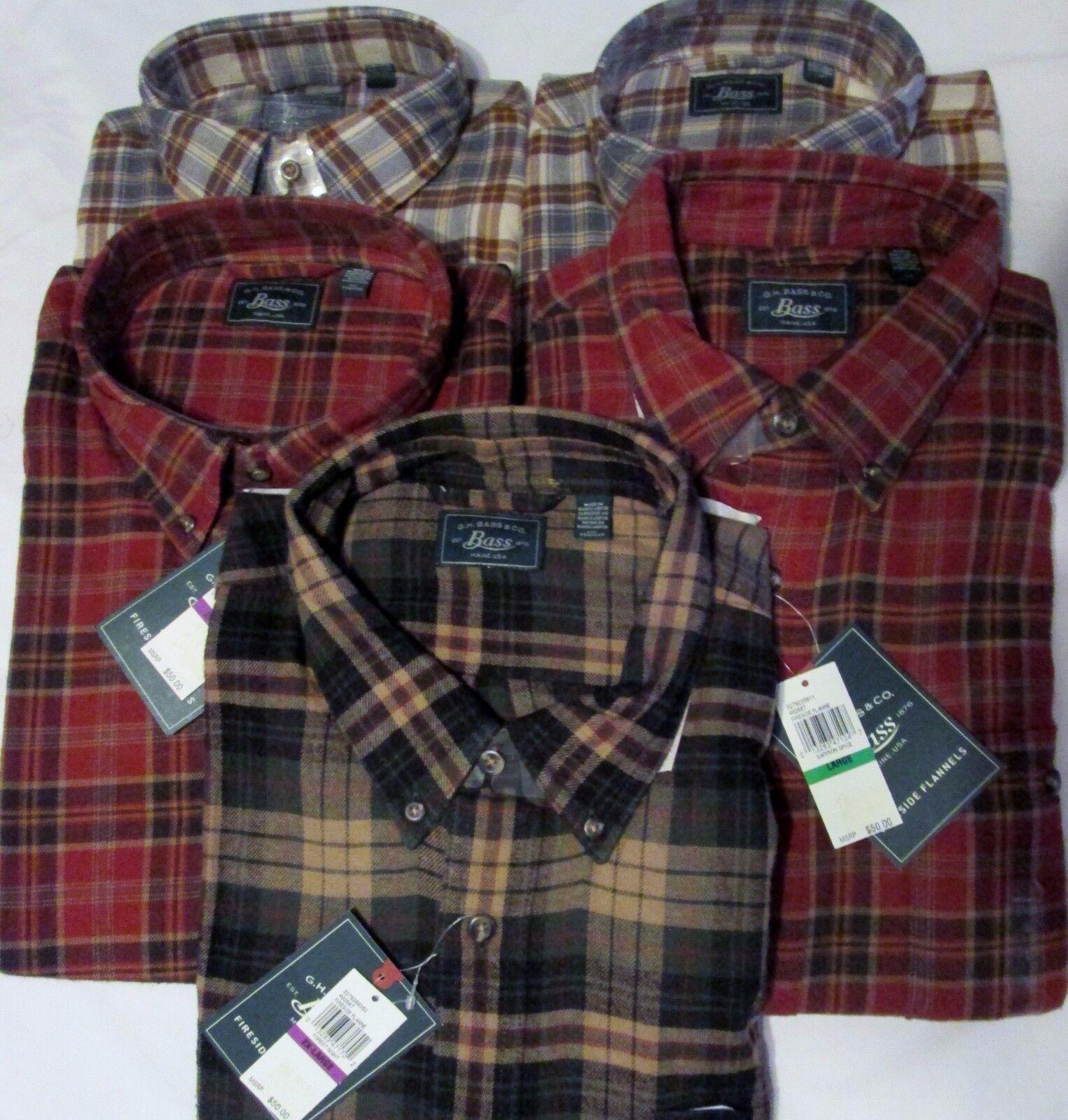 NWT Men's G. H. BASS & Co. Fireside Plaid Flannel Shirts Ret