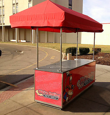Concession Style Food Cart With Canopy - Sink Electric Hot Cold Water - Nsf