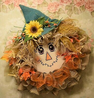 Handmade* Fall Scarecrow Wreath* Halloween*  Burlap, Fall colors*