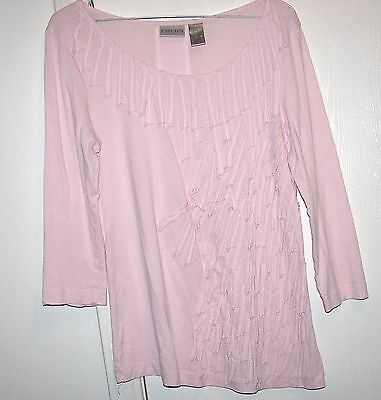 Chico's Light Pink 3/4 Sleeve With Torn Cloth Strips Design Sewn On Front Size - Clothing With Lights