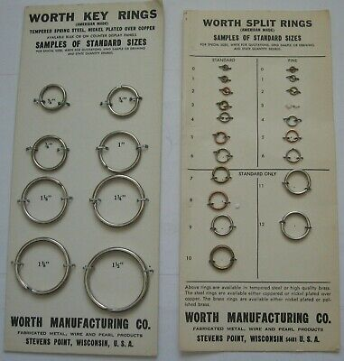 Worth Manufacturing Co Key Split Ring Samples Card Vintage Advertising Wisconsin
