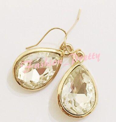 SUMMER HOT SALES!!! 18 CARAT PEAR SHAPE DIAMOND CRYSTAL EARRINGS, GOLD OVERLAY
