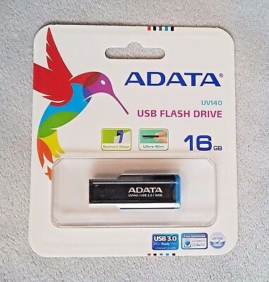 ADATA UV140 16GB USB 3.0 Bookmarked, Capless Flash Drive, Blue (AUV140-16G-RBE)