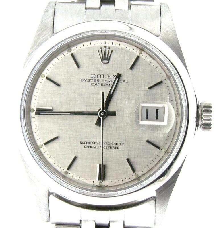 Rolex Datejust Men Stainless Steel Jubilee Bracelet Silver Linen Dial Watch