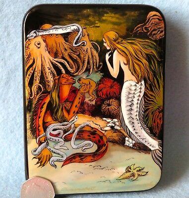 Russisch Handbemalt Lack Schmuck Box Andersen die Kleine Meerjungfrau Silantyeva Meerjungfrau Schmuck-box