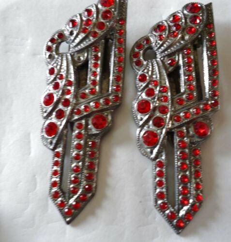 Vintage Art Deco Red Rhinestone Dress Clips Pin Set Unsigned Elegant pair