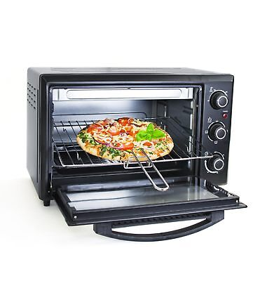 30 L Grafner Mini Backofen mit Timer 1600 Watt Pizzaofen Toastofen Single Ofen