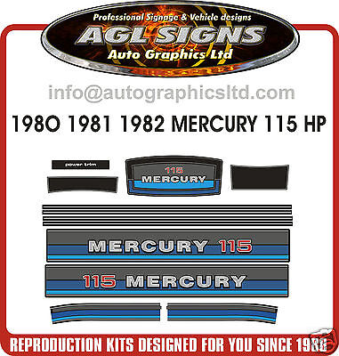 1980 1981 1982 MERCURY 115 hp Outboard Decals  reproductions stickers  90 140 hp for sale  Canada