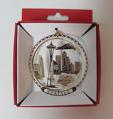 Seattle Brass Christmas Ornament Space Needle City Skyline Souvenir Travel Gift
