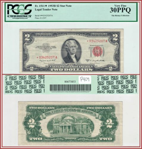 1953B Star $2 Legal Tender Note PCGS 30 PPQ Very Fine VF Red Seal Two Dollars
