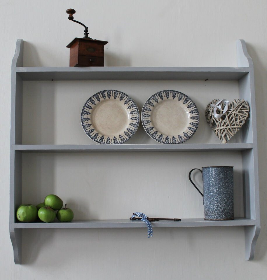 wooden wall  shelf shabby chic 3 tier painted bookcase