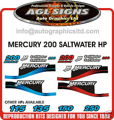 MERCURY 200 SALTWATER OUTBOARD DECAL KIT 125 135 150 175 225 250 HP'S AVAILABLE