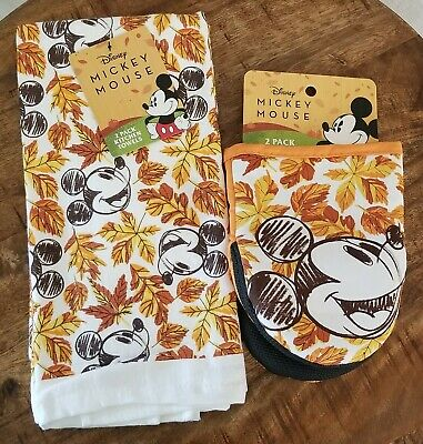 Disney MICKEY MOUSE Autumn Fall Kitchen Dish Towel & Oven Mitt 2 Piece Set