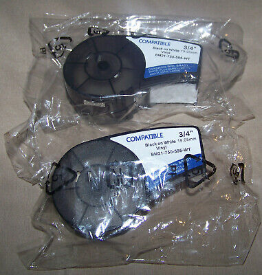 Compatible Brady M21-750-595-wt 34 X 25 19.1mm X 7.6m Label Tape Blackwhite