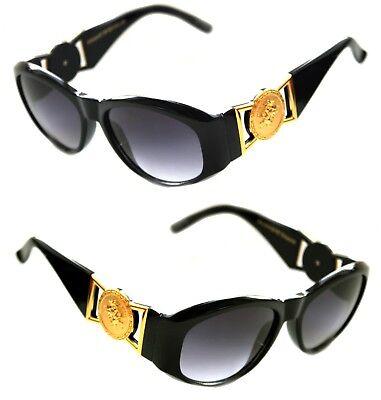 407d17ccaa0 Medusa Metal Gold Logo 413 Medium Black Sunglasses Vintage Style Biggie 852